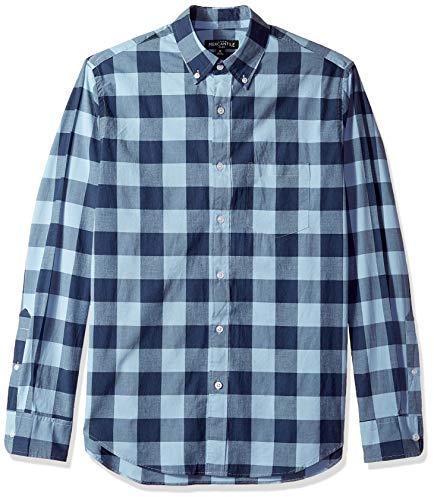 J.Crew Mercantile Herren Slim-Fit Long-Sleeve Gingham Shirt Button Down Hemd, Seaside, Klein - Baumwolle Popeline Gingham Shirt