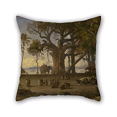 Artistdecor Oil Painting Auguste Borget - Moonlit Scene Of Indian Figures And Elephants Among Banyan Trees, Upper India (probably Lucknow) Pillow Shams 20 X 20 Inches / 50 By 50 Cm For