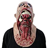 Trada Maschera Spaventosa Halloween/Maschera di Zombi sanguinante Costume da scioglimento del Viso Adulto in Lattice Walking Dead Halloween Scary/Halloween Spaventoso Party Mask (F, Marrone)