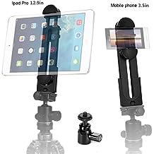 ohCome 2-en-1 Teléfono Adaptador de montaje en trípode universal Adaptador para tableta universal de 3,5 pulgadas de 12 pulgadas de diámetro y 12 pulgadas como iPad Air / Mini / Pro, superficie de Microsoft, la mayoría de los teléfonos y mini tripod Ball Head for Amazon Monopod