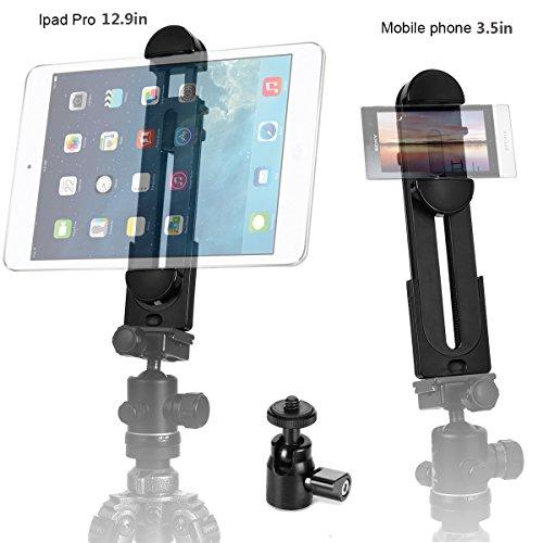 Vikdio 2-in-1 telefono iPad Pro Adattatore per montaggio a treppiedi supporto universale a morsetto per tablet Supporto 3,5-12,9 'per iPad Air / Mini, superficie MS, più telefoni e mini piedino a treppiede per Amazon Monopod / Treppiede / Selfie Stick