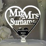 Personalised Mr and Mrs Heart Cake Topper 125mm x 125mm - Wedding/Anniversary Keepsake - Mirror Acrylic - LittleShopOfWishes