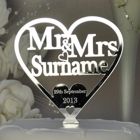 Personalised Mr and Mrs Heart Cake Topper 125mm x 125mm - Wedding/Anniversary Keepsake - Mirror Acrylic -