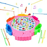 Angelspiel, Angeln Spielzeug Angeln Brettspiel mit 8 Angelruten 42 Fisch mit Musik für Kinder 3 Jahre (Farbe zufällige Lieferung) , MEHRWEG