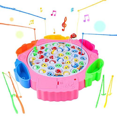 Angelspiel, Angeln Spielzeug Angeln Brettspiel mit 8 Angelruten 42 Fisch mit Musik für Kinder 3 Jahre (Farbe zufällige Lieferung)