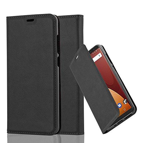 Cadorabo Hülle für WIKO View Prime - Hülle in Nacht SCHWARZ – Handyhülle mit Magnetverschluss, Standfunktion und Kartenfach - Case Cover Schutzhülle Etui Tasche Book Klapp Style