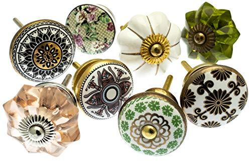 Möbelknopf Set x 8, Möbelknauf, Möbelknöpfe, Möbelgriff, Vintage Keramik Porzellan Set (MG-212-A) -