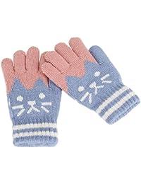 Gants Hiver Automne Chaud Mitaines Plein-doigts Tricot Moufles Extérieur  Doublure Cachemire Thermique Chaton Imprimé Adorable Gloves Ski… da36128851e