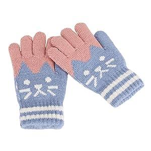 Kinder Fingerhandschuhe Herbst Winter Warm Handschuhe Fäustlinge mit Plüsch Futter Süß Gloves Skihandschuh, 5-8 Jahre alt, Skifahren Snowboarding Spielen Laufen Bedarf