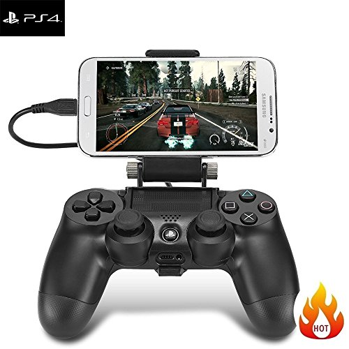 fletion Handy Tablet Clip Clamp für Sony PS4 Playstation 4 Joystick Game Controller, 180 ° verstellbar Gaming Elastic Clip Halterung mit High Speed Übertragung OTG Datenkabel