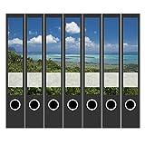 7 x Akten-Ordner Etiketten/Design Aufkleber/Rücken Sticker/Wald und Meer/für schmale Ordner/selbstklebend / 3,7 cm breit