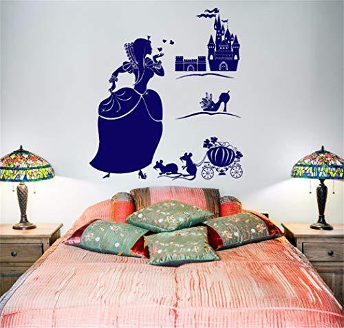 wandaufkleber 3d Wandaufkleber Schlafzimmer Cinderella Magic Märchen für Kinder Mädchen Schlafzimmer Aufkleber für Mädchen Schlafzimmer Wohnzimmer -