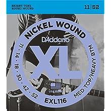 D'Addario EXL116 XL Nickel Wound Medium Top/Heavy Bottom (.011-.052) Electric Guitar Strings