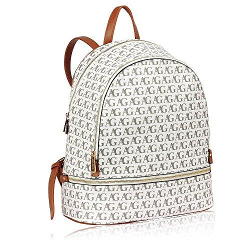 Damen Rucksäcke Modisch Designer Taschen zum Frau Schule Taschen zum Mädchen Gold Metall Arbeit Mit Zwei Einstellbar Schulter Startet Weiß