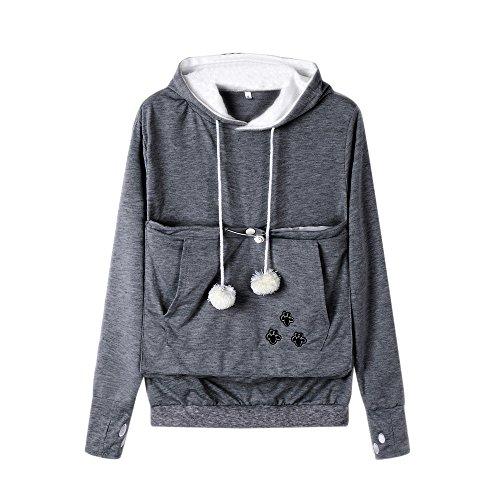 Lqqstore ♥♥felpa da donna♥♥donna moda utile puro colore canguro tasca pet cane gatto porta cappotto borsa grande felpa con cappuccio tasca top pullover