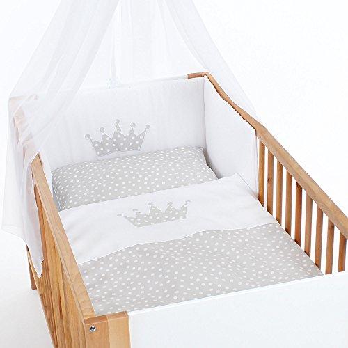babybay Kinderbettwäsche Pique, perlgrau Punkte weiß Applikation Krone