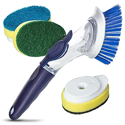 Long Handled Kitchen Scrubbing Brush. Twist and Turn with 4 Multi Purpose Dishwashing Brushes. Bristles and Scraper Are Safe for Non-stick