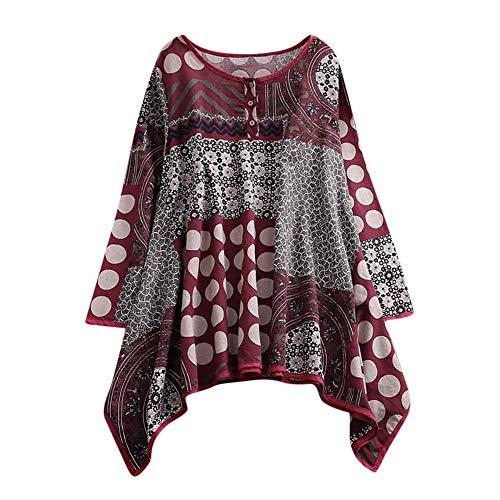 VEMOW Damen Sommer Herbst Elegante Plus Größe Dot Print Lose Baumwolle Casual Täglichen Party Strandurlaub Kurzarm Shirt Vintage Bluse...