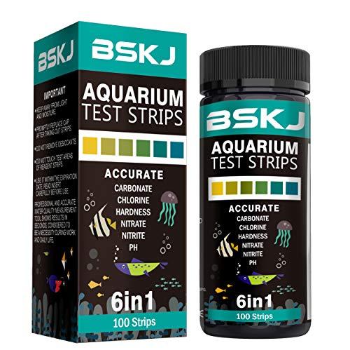 BSKJ 6 in 1 Aquarium-Wasser-Teststreifen, für Salzwasser, Süßwasser, Fischteich-Teich, Multielement-Test (Teich-wasser-test-kit)
