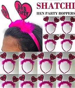 SHATCHI 11226 24 diademas de pelo rosa con forma de corazón y cuernos para niñas