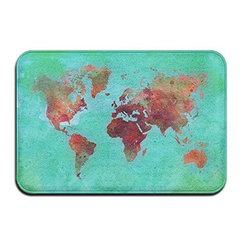 lijied Watercolor World Map Non Slip Indoor Doormat for Home Office Clean Absorbent Antiskid Kitchen Bath Mats Indoor Door mats Green Rug