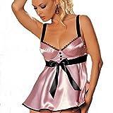 Damen Babydoll Nachthemd Reizwäsche Dessus Dessous Lingerie Babydoll Bh Set Frauen Unterwäsche Damenunterwäsche (Rosa)