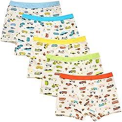 Chic-Chic Boxer Slip Lot de 5 Garçon Bébé Enfant Culotte Pantalon sous-Vêtement en Coton Motif Mignon Voiture 4-6ans