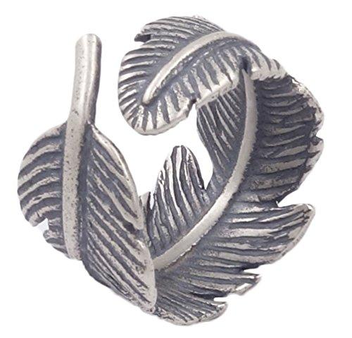 Piuma In Argento Sterling 925anticato, Anello regolabile