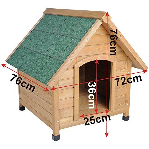 Hundehütte Spitzdach Massiv Holz Hundehaus Wetterfest Hunde Haus Hütte 76x76x72cm HT2022 - 5