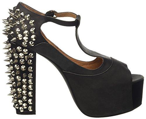Jeffrey Campbell Foxy Spike, Chaussures à Talons à Bout Ouvert Femme, 18 EU Noir - Nero (Leather Black)