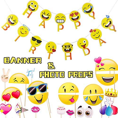 Bibivisa Emoji Geburtstagszubehör 21 Pack - Emoji Party Fotoautomat (20 Counts) & Lächelndes Gesicht Alles Gute Zum Geburtstag Girlande für Geburtstagsfeierbevorzugung Deko Party Zubehör