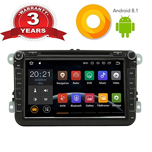 Android 8.1 Autoradio DVD CD Multimedia Player stereo für VW mit GPS Navigation 8 Zoll Bildschirm Bluetooth WLAN Lenkradsteurung USB AV-OUT -
