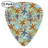 Starfishes For Otters (chilli U0026 Aquamarine Blue)_297 Classic Celluloid Picks, 12-Pack, For Electric Guitar, Acoustic Guitar, Mandolin, And Bass