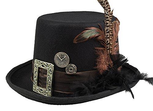 linder, schwarz mit Federn (Steampunk Hut Mit Brille)