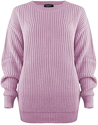 SA Fashions® Oversized New Ladies Womens Chunky Baggy Jumper Knitted Sweater Thick Top S-XL 8-18 (S/M (8-10), Baby Pink)