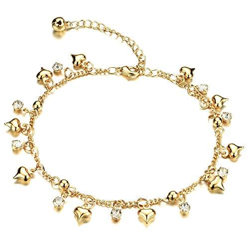 Onefeart Vergoldet Fußkette für Frauen Mädchen Runden Zirkonia Herzförmig Fußkette Schmuck 26CM Gold