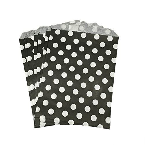 PrettyurParty Black Polka Dot Favor Bag