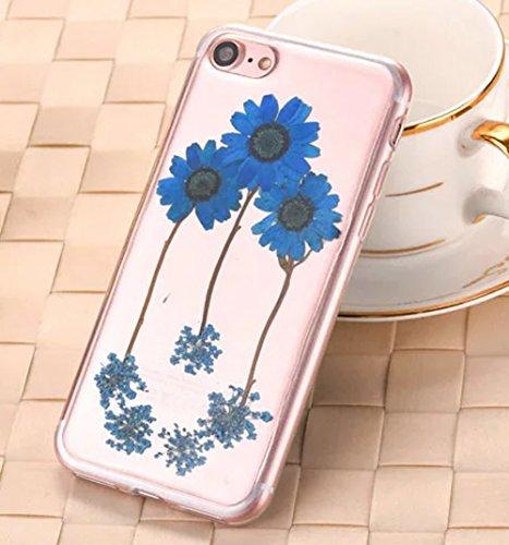 iPhone 8 Klar Handycover, Aeeque iPhone 8 (4.7) Handgefertigt Echt Blume Schutzhülle, 3D Handmade Elegant Mädchen Blumen-Serie Design Klar Durchsichtig Flexibel Silikon Zurück Bumper Case Cover für iP Blumen #8