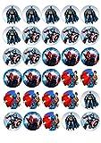 Cupcake-Topper mit Superhelden, vorgeschnitten, rund, essbar, 30 Stück