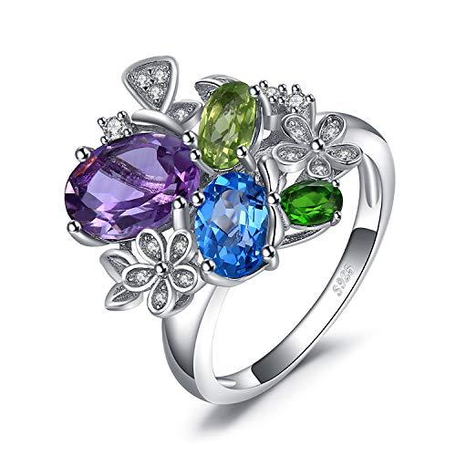 Jewelrypalace 1.5ct Genuine Amethyst Peridot Zirkonia personalisierte Birthstone Promise Ring 925 Sterling Silber