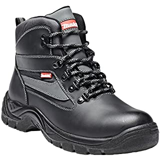 Dickies Makita Branded Anjo High Quality Safety Boot Steel Midsole & Toecap Water Repellent Leather Uppers Mesh Lining Oil Resistant Sole Antistatic Dual Density PU Outsole Work Workwear Boots Black MW329 UK 6