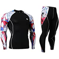 Cycling MTB Motorcycle Workout Running Compression Sportwear Jersey & Pants Suit Y37 L