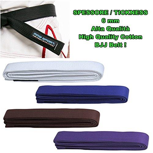 Cintura bjj belt jiu jitsu kimono - gi 100% cotton 6 mm colori vari (a2/280 cm, viola)