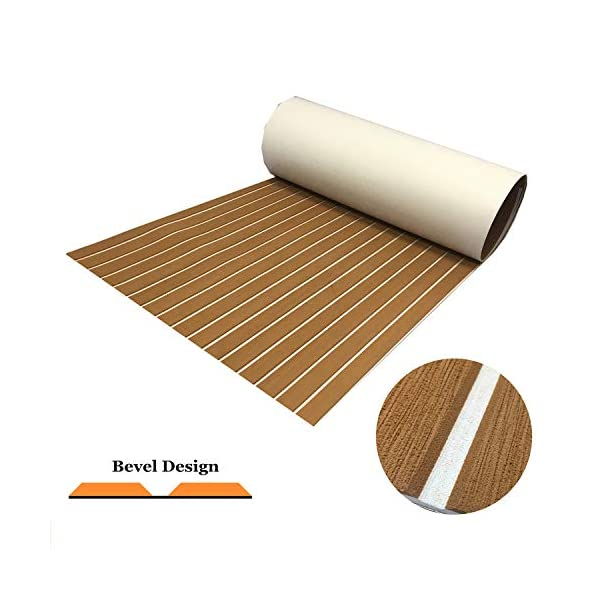 yuanjiasheng 90×240cm EVA Synthetic Boat Decking Sheet Yacht Marine Flooring Anti Slip Carpet With Backing Adhesive,Bevel Edge 1
