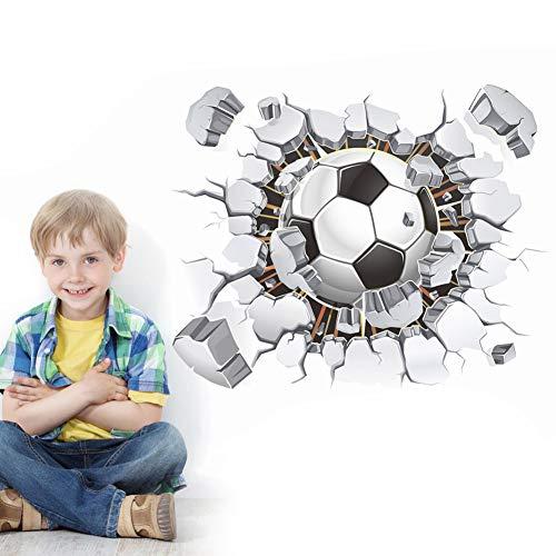 lität 3D Fußball Wandaufkleber PVC Kunst Fußball Riss Aufkleber Jungen Zimmer Wandbild Dekor ()