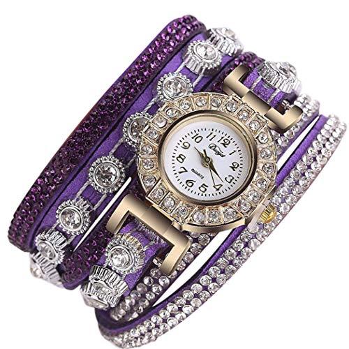 TLZR Reloj de Pulsera de Moda Casual de Mujer Reloj analógico Reloj de Cuarzo Reloj de Pulsera de Diamantes de imitación Reloj de Acero Inoxidable con Diamantes Dark Purple