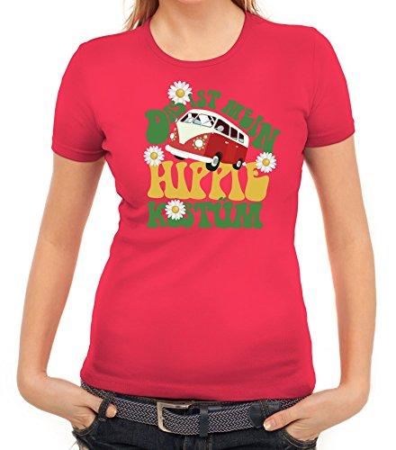 Karneval Damen T-Shirt mit Das ist Mein Hippie Kostüm Motiv, Größe: M,Pink (Ideen Für Ein Hippie Kostüm)