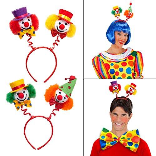 Clown Haarreif Zirkus Kopfschmuck rot-gelb Harlekin Fasching Haarreifen Komiker Kopfbügel Clownkostüm Karneval Haarschmuck Kostüm Zubehör (Komiker Kostüme)