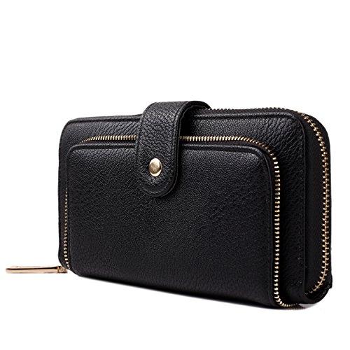 - 51DjzEKguSL - Miss Lulu Ladies Designer Textured Leather Look Zip Long Purse Clutch Wallet (Black)