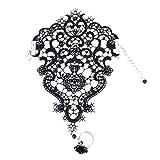 EROSPA Edle Handstulpe aus Spitze mit Perlen und Ring Rose Hochzeit Brautjungfer schwarz weiß (Schwarz)